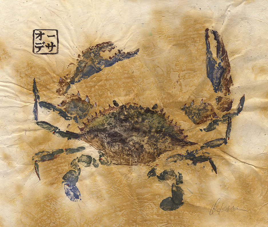 Blue crab Gyotaku on Pinto paper