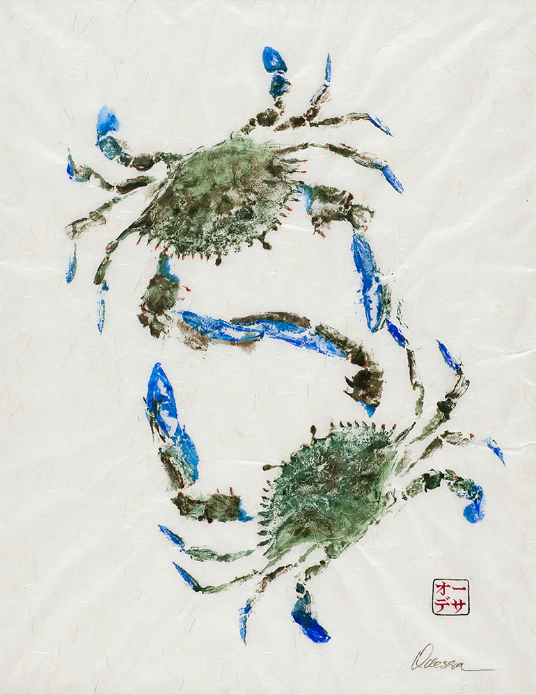 2 blue crab Gyotaku on rice paper