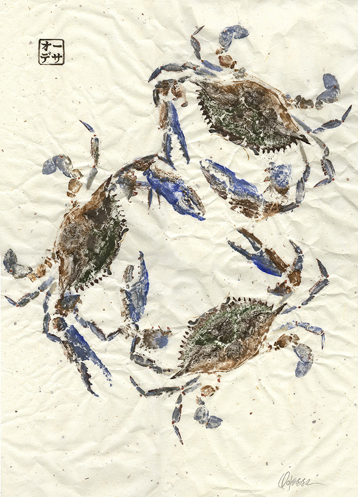 3 blue crab Gyotaku on speckled mulberry paper