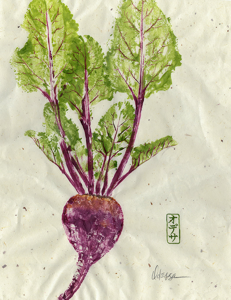 Beets vegetable Gyotaku rubbing on speckled mulberry paper
