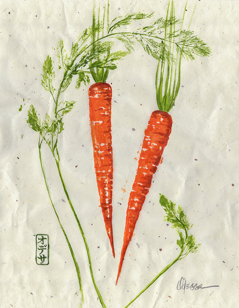 Carrots rubbing Gyotaku on speckled mulberry paper