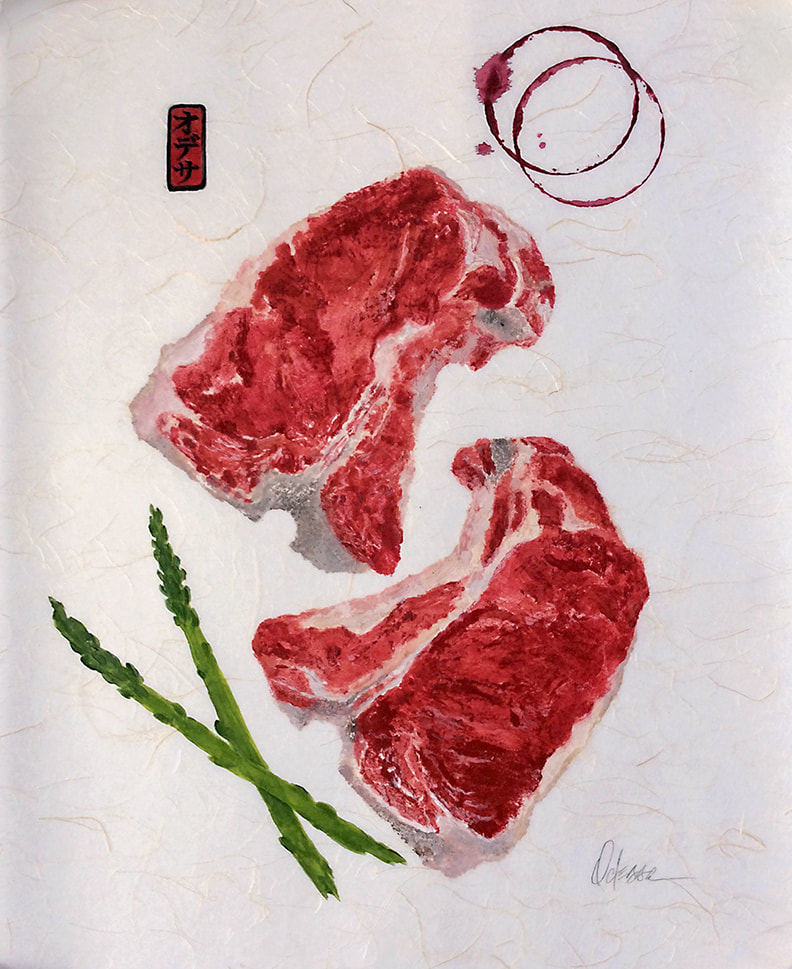 Steak dinner with asparagus and wine stain rings Gyotaku rubbing on Shoji paper