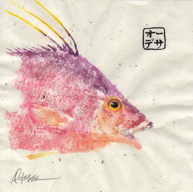 Hogfish Gyotaku head only on speckled mulberry paper