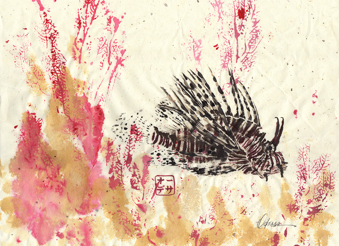 Lionfish and coral Gyotaku on speckled mulberry paper