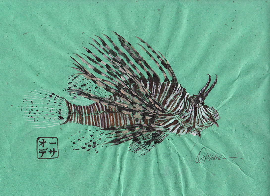 Lionfish Gyotaku on green mulberry paper