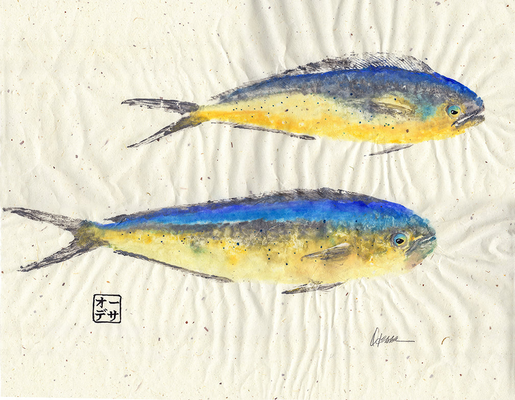 2 Mahi Mahi Gyotaku on speckled mulberry paper