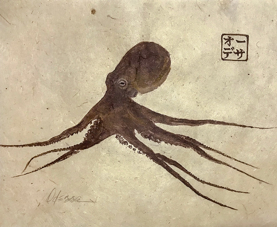 brown octopus Gyotaku on natural mulberry paper