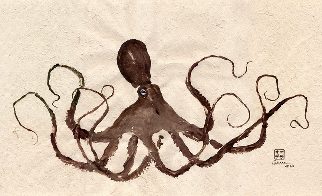 brown octopus Gyotaku on elephant dung paper