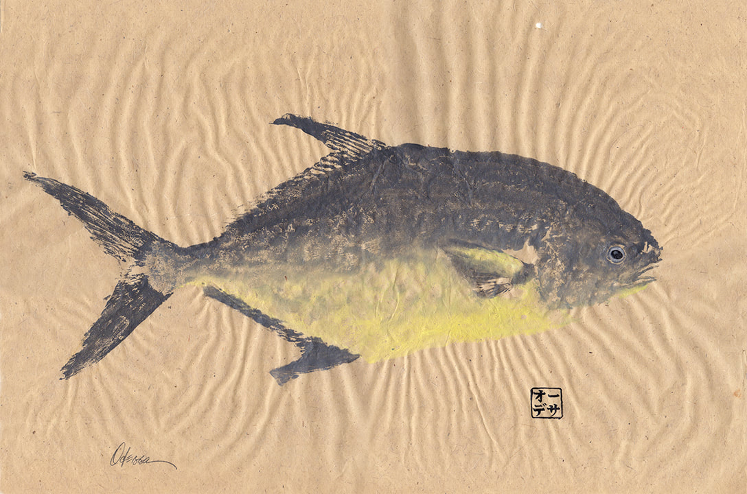 Pompano fish Gyotaku on natural mulberry paper
