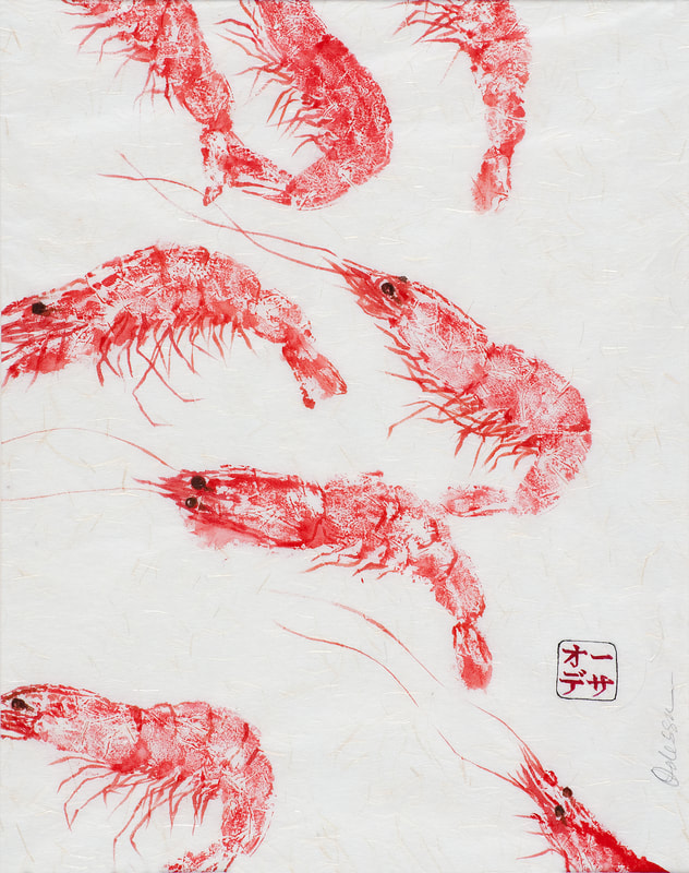 shrimp school Gyotaku on rice paper