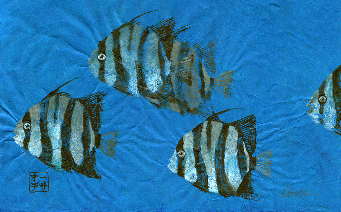 Spadefish striped fish Gyotaku on blue mulberry paper