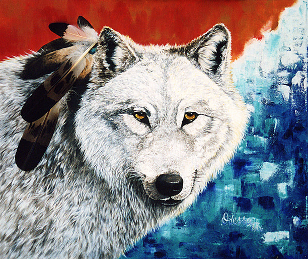 White Wolf painting, oil on canvas